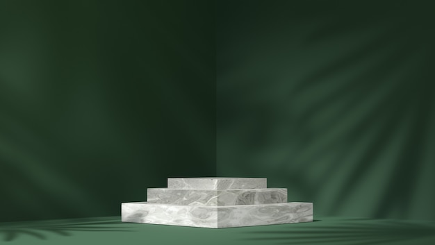 White marble box podium for product placement in shadow leaves background