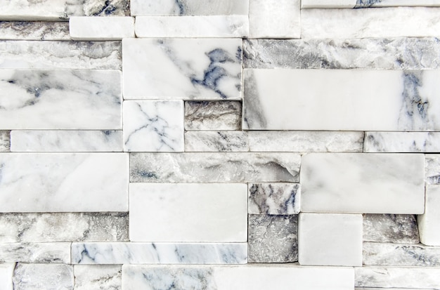 White marble brick wall textured wallpaper