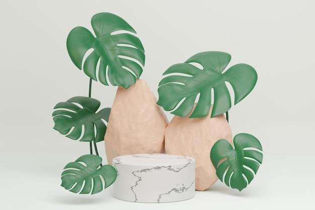 白い大理石のシリンダー表彰台と白い背景にモンステラ植物の葉と茶色の石。 3dイラストレンダリング画像。