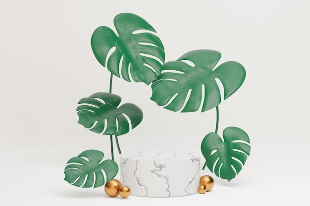White marble cylinder podium and golden ball with monstera plant leaves with  on a white background. 3d illustration rendering image.