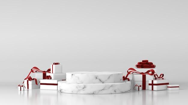 Белый мраморный цилиндрический подиум с елочными украшениями