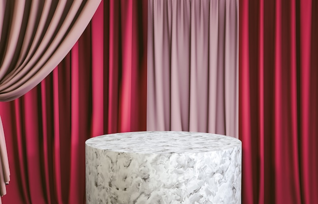 White marble cylinder podium with red curtain for product display. 3d render. luxury scene.