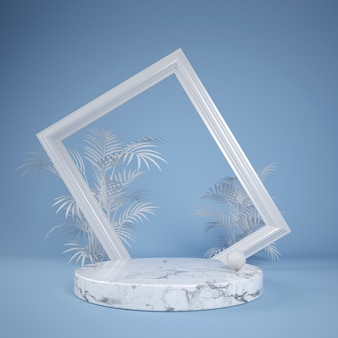 White marble display for show product fashion frame with palm leaf on blue, 3d illustration