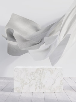 風の背景3dレンダリングによって吹き飛ばされたカーテンと白い大理石のディスプレイスタンド