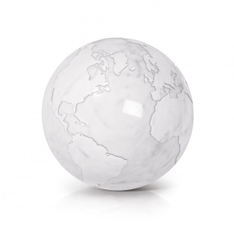 White marble globe 3d illustration north and south america map on white isolated