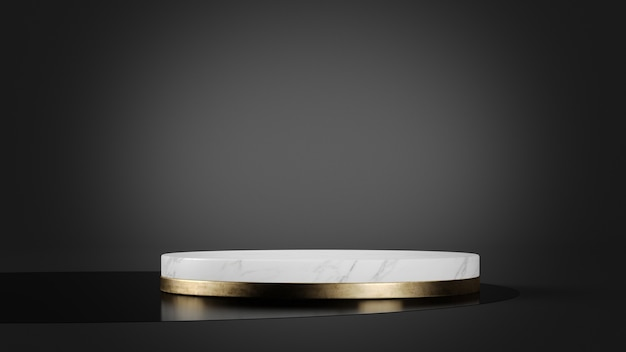 White marble and gold platform mockup for product presentation 3d rendering