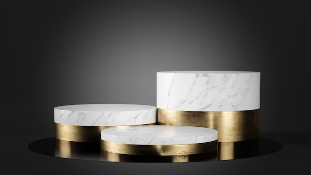 White marble and gold podium on black background 3d rendering