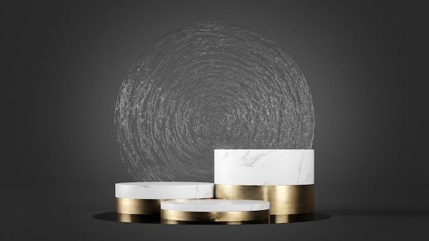 White marble and gold podium with ancient glass background 3d renderign