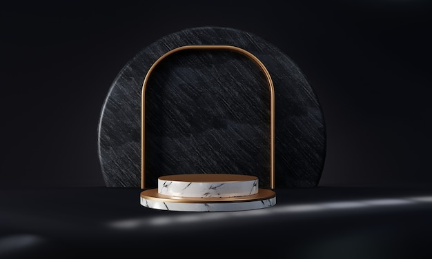 White marble and golden product stage podium on dark blue background with shine light window