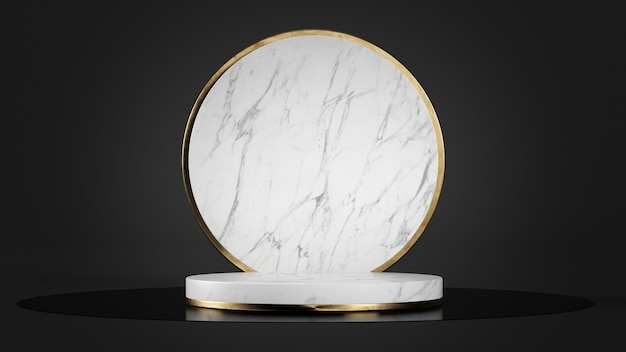 製品プレゼンテーションモックアップ3dレンダリング用の白い大理石の台座