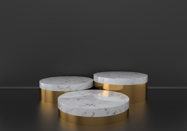 White marble pedestals or podiums with golden frames on black background