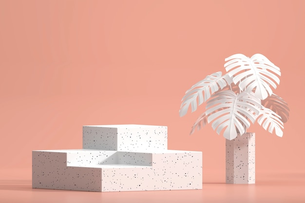 Monstera 냄비 장식 3d 렌더링 제품 디스플레이 쇼케이스를위한 흰색 대리석 연단