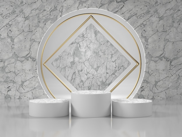 White marble podium luxury scene for cosmetic or another product.