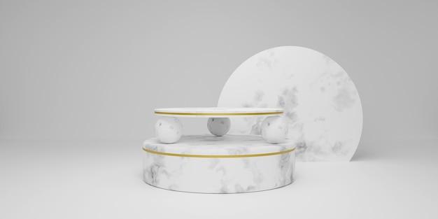 白い大理石の表彰台。新製品のシーン、最小限のデザイン、3dレンダリング
