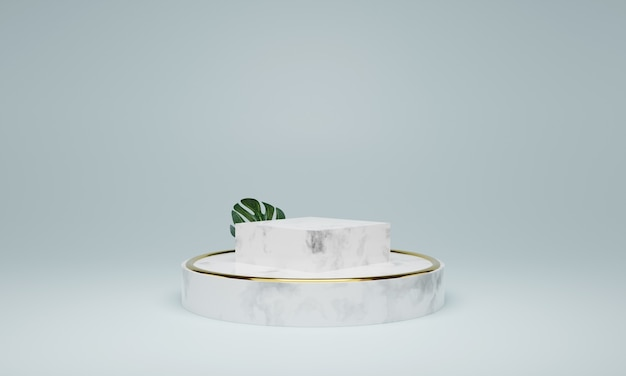 Белый мраморный подиум. сцена для нового продукта, минималистичный дизайн, 3d рендеринг
