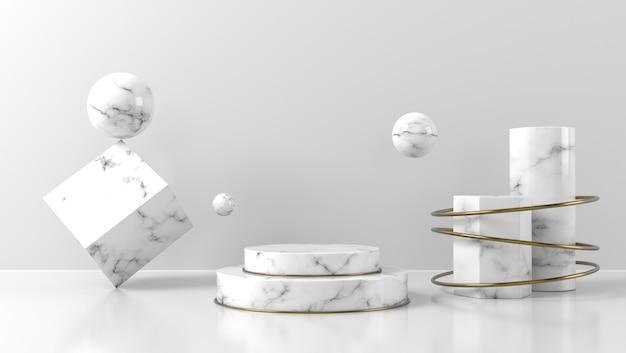 Подиум из белого мрамора для размещения продукта на белой стене