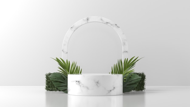 White marble podium showcase for product placement with leaves in white wall