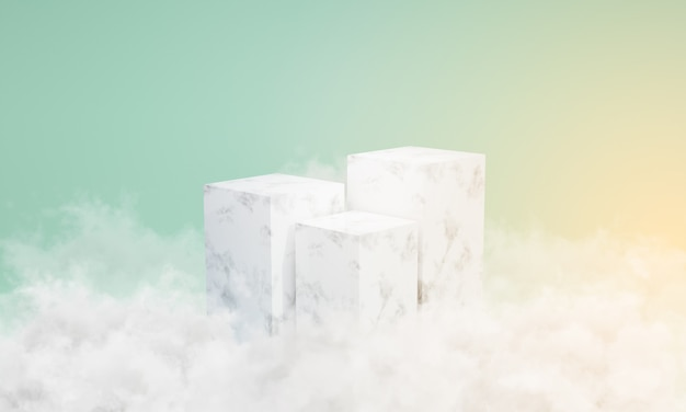 주위에 구름과 흰색 대리석 연단입니다. 쇼케이스 장면, 최소, 3d 렌더링