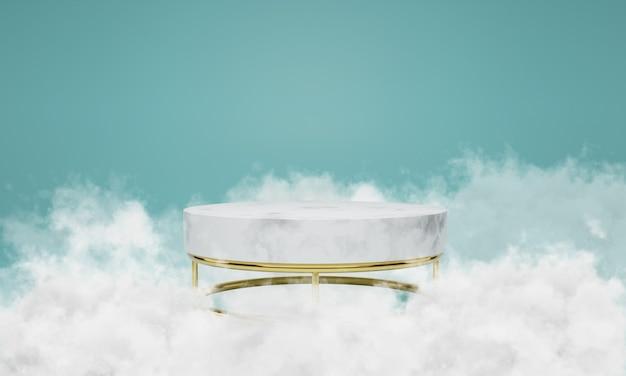 Белый мраморный подиум с облаками вокруг него. сцена для витрины, минималистичный дизайн, 3d рендеринг