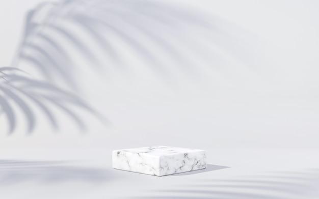 흰색 배경에 잎 그림자가 있는 흰색 대리석 연단