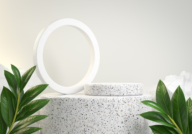 White marble podium with leaves