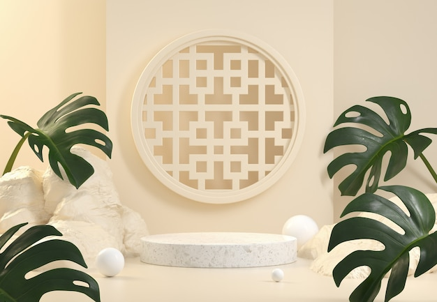 White marble podium with monstera leaves on beige background