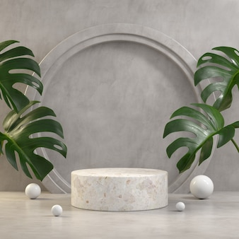 White marble podium with monstera leaves