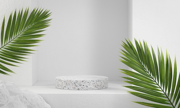White marble podium with palm leaves
