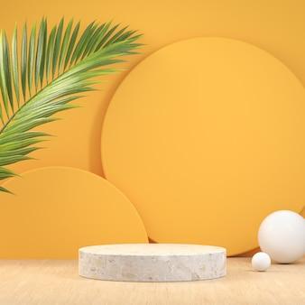 White marble podium on yellow background