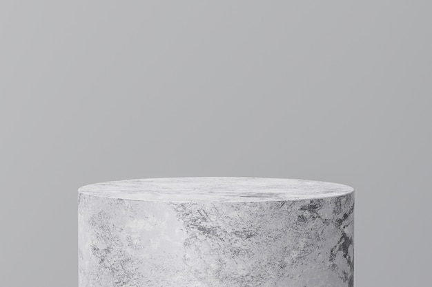 White marble product display on gray background with modern backdrops studio. empty pedestal or podium platform. 3d rendering.