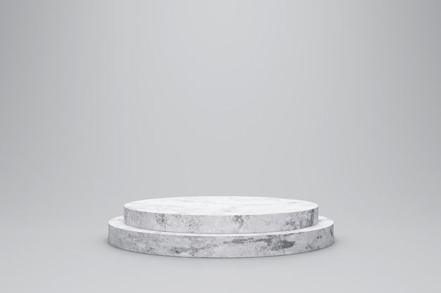 White marble product display on white background with modern backdrops studio. empty pedestal or podium platform. 3d rendering.