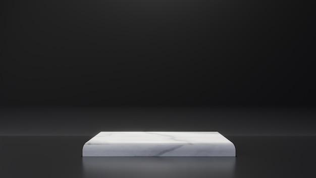白い大理石製品の長方形テーブルは黒い背景の上に立ちます。抽象的な最小幾何学の概念