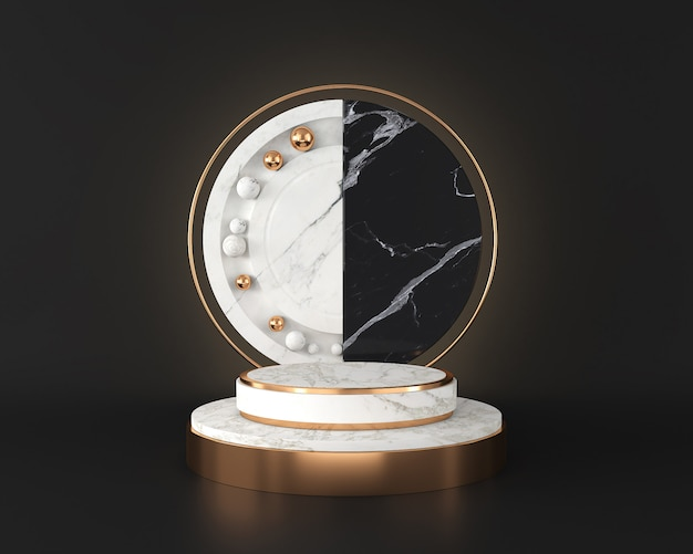 White marble stage podium display on black wall, abstract minimal concept