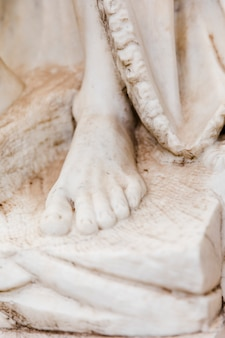 White marble statue close up