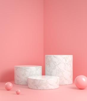 White marble step podium on pink background