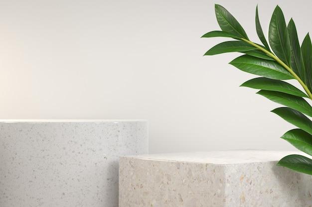 잎이있는 흰색 대리석 단계 연단