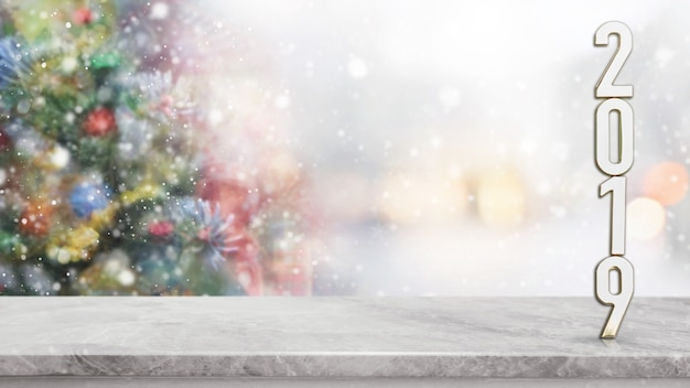 White marble stone table top on blur with bokeh christmas tree background.