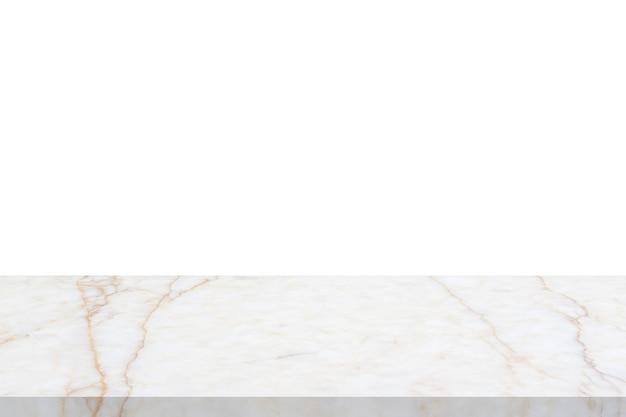 製品の表示のための白い背景で隔離の白い大理石の石のテーブルトップ