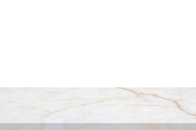 White marble stone table top isolated on white background for product display