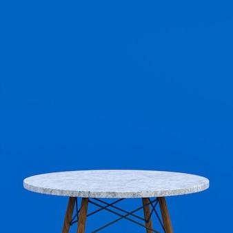 파란색 배경에 디스플레이 제품에 대한 흰색 대리석 테이블 또는 제품 스탠드