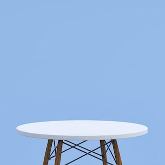 흰색 대리석 테이블 또는 파란색 디스플레이 제품 스탠드