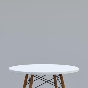 회색 배경에 디스플레이 제품을위한 흰색 대리석 테이블 또는 제품 스탠드