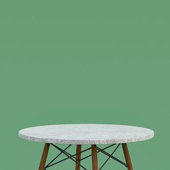 Белый мраморный стол или подставка для продукта для демонстрации продукта на зеленом фоне