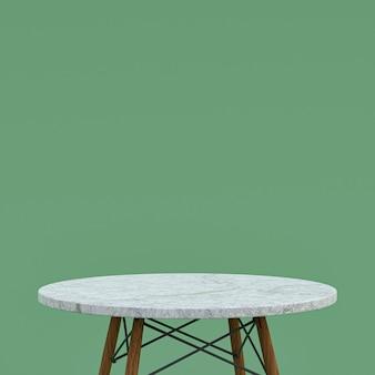 녹색 배경에 디스플레이 제품을위한 흰색 대리석 테이블 또는 제품 스탠드
