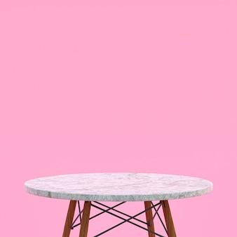 Белый мраморный стол или подставка для продукта для демонстрации продукта на розовом фоне