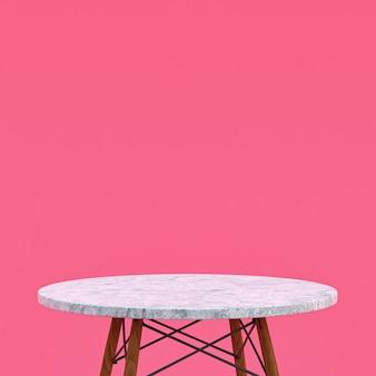 분홍색 배경에 디스플레이 제품을위한 흰색 대리석 테이블 또는 제품 스탠드