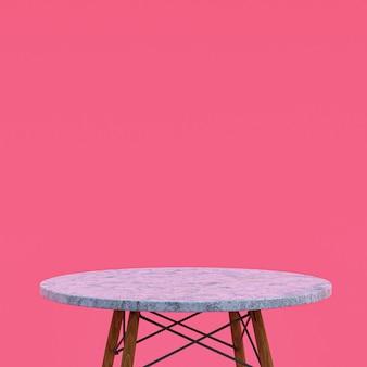 흰색 대리석 테이블 또는 분홍색 디스플레이 제품 스탠드