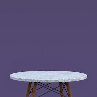 보라색 배경에 디스플레이 제품을위한 흰색 대리석 테이블 또는 제품 스탠드