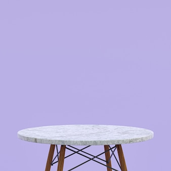 흰색 대리석 테이블 또는 자주색 디스플레이 제품 스탠드