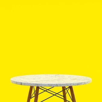 노란색 배경에 디스플레이 제품을위한 흰색 대리석 테이블 또는 제품 스탠드
